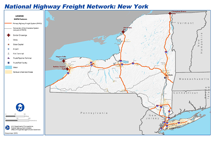 National Highway Freight Network Map and Tables for New York FHWA