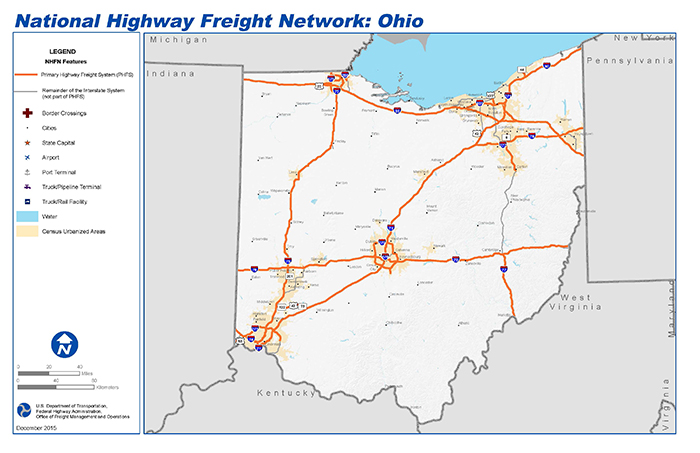 National Highway Freight Network Map And Tables For Ohio Fhwa Freight Management And Operations