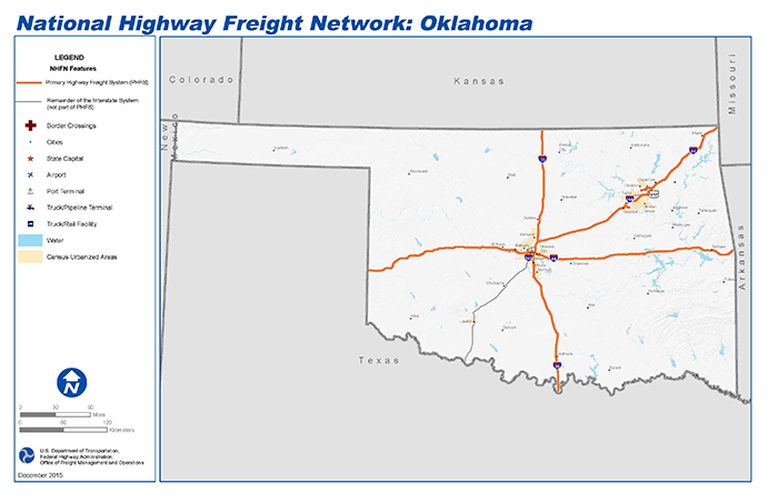 I 40 Oklahoma Map.National Highway Freight Network Map And Tables For Oklahoma Fhwa