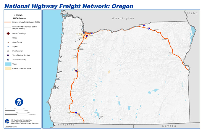National Highway Freight Network Map and Tables for Oregon ...