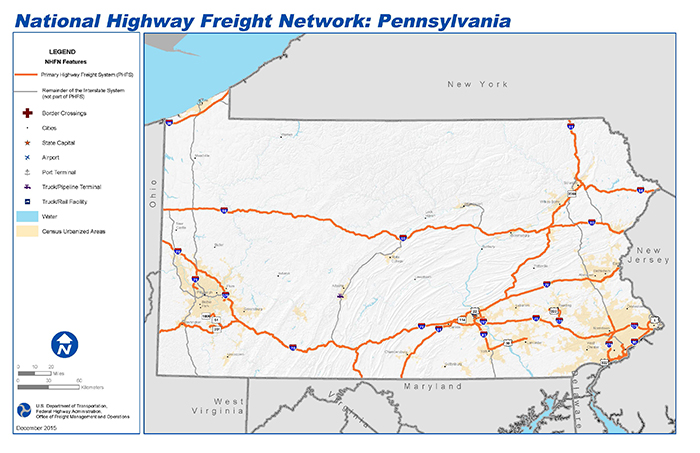 National Highway Freight Network Map And Tables For Pennsylvania