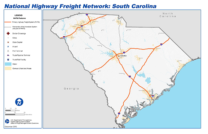 National Highway Freight Network Map and Tables for South Carolina ...