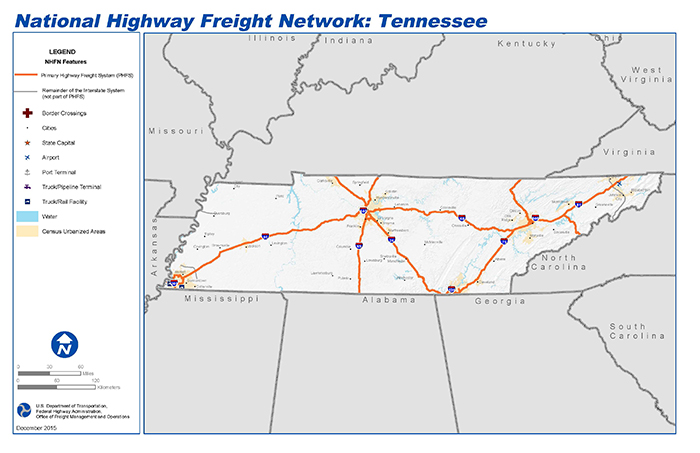 National Highway Freight Network Map and Tables for Tennessee - FHWA on north georgia and florida map, north georgia satellite, clarkesville ga area map, north georgia gold map, georgia highway map, georgia and russia map, north georgia topographic map, north georgia lake map, north georgia railroad map, georgia major cities map, upstate south carolina road map, map of milledgeville ga street map, north georgia home, north main street map, ga road map, north georgia hotels, north georgia map with cities, georgia county map, cherokee north carolina map, roswell road map,