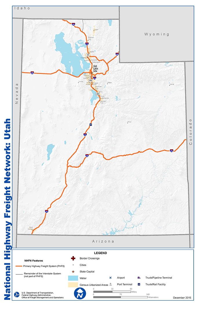 Ut State Map.National Highway Freight Network Map And Tables For Utah Fhwa