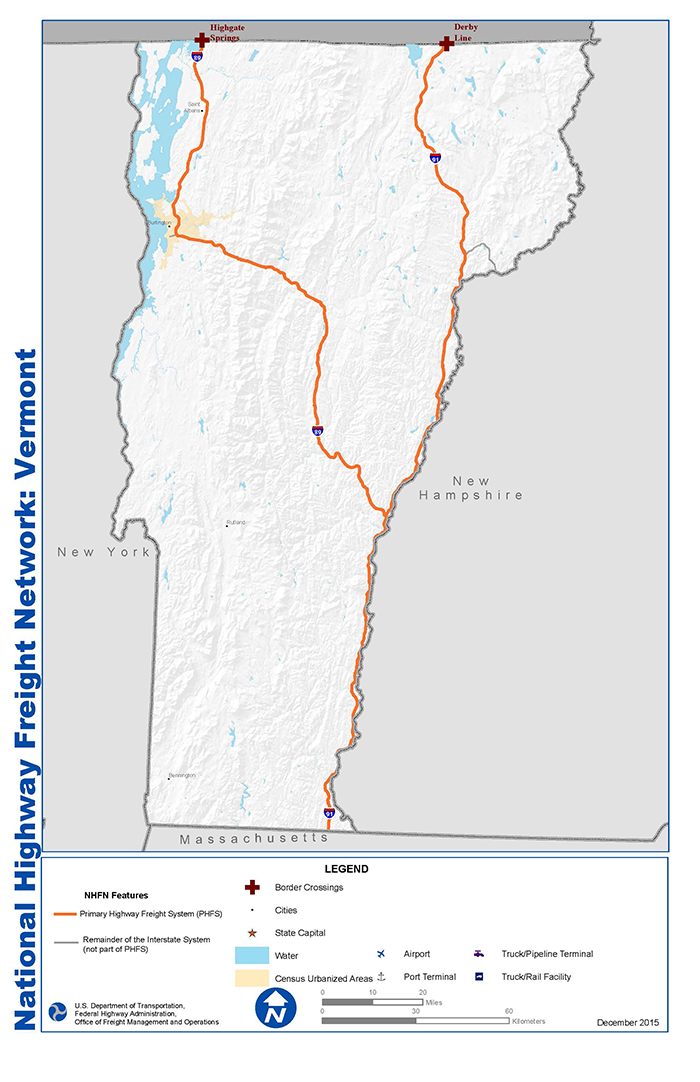 National Highway Freight Network Map and Tables for Vermont ...