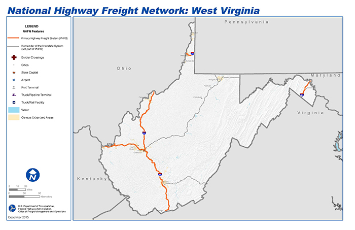 National Highway Freight Network Map and Tables for West Virginia ...