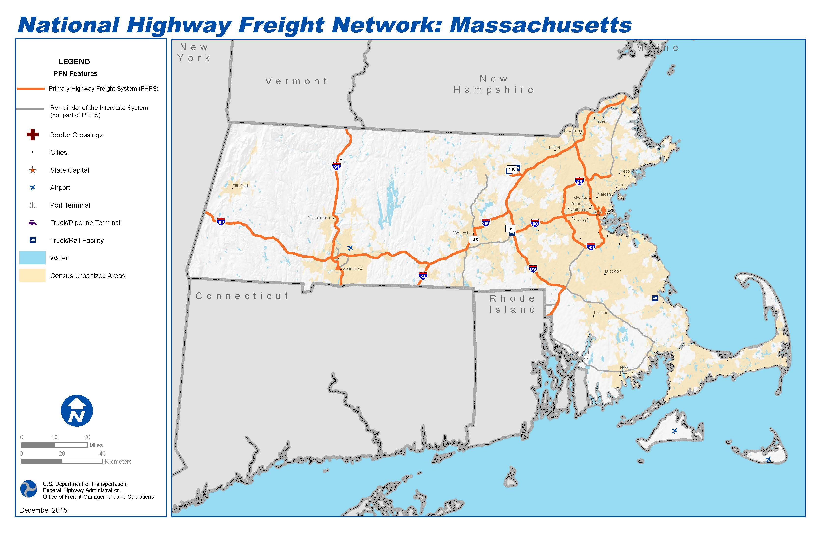 National Highway Freight Network Map and Tables for Massachusetts
