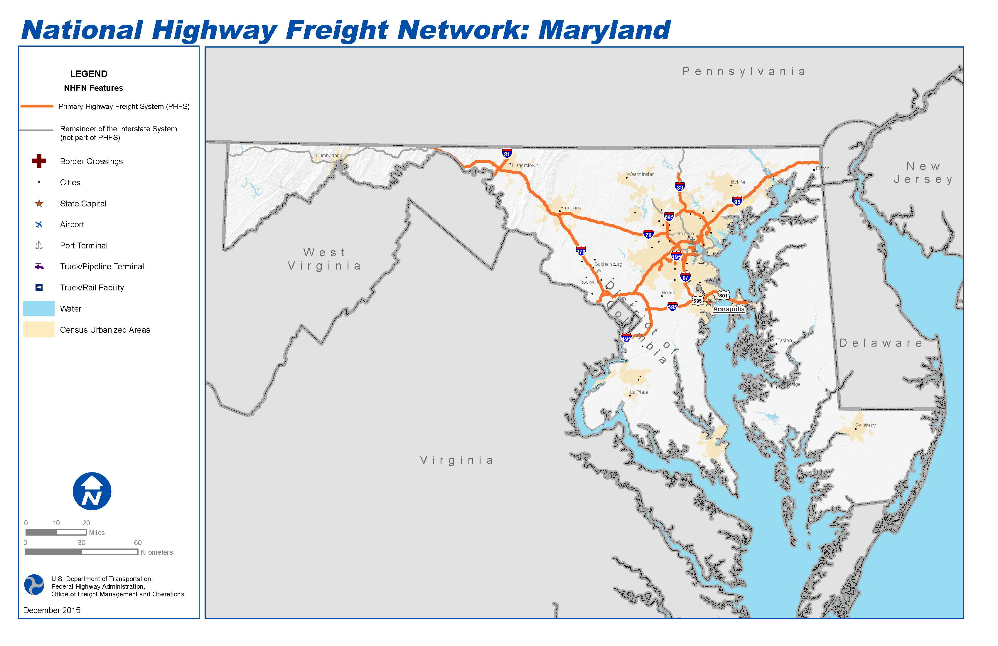 National Highway Freight Network Map And Tables For Maryland - Maryland map and cities