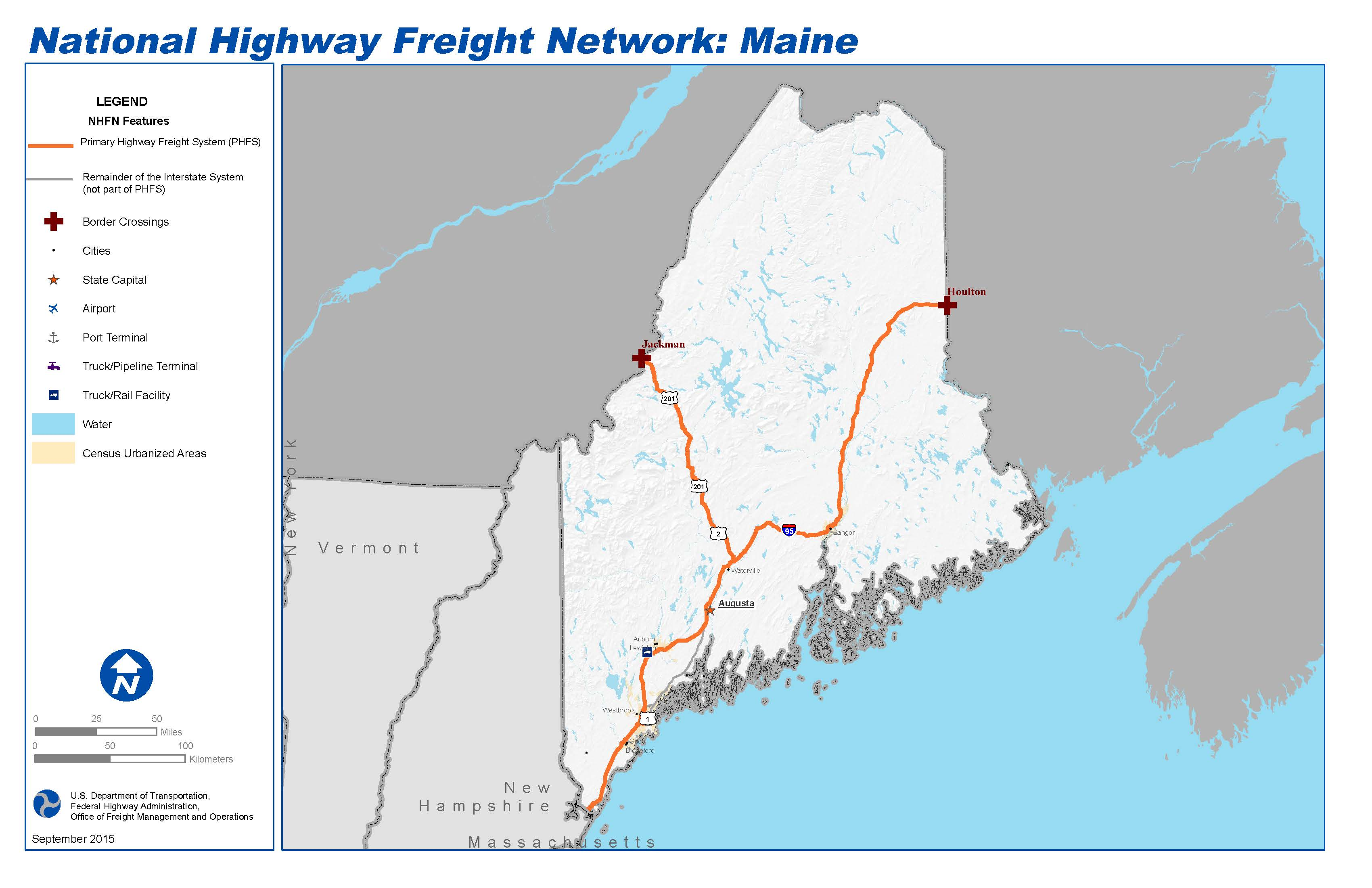 National Highway Freight Network Map And Tables For Maine FHWA - Maine cities map