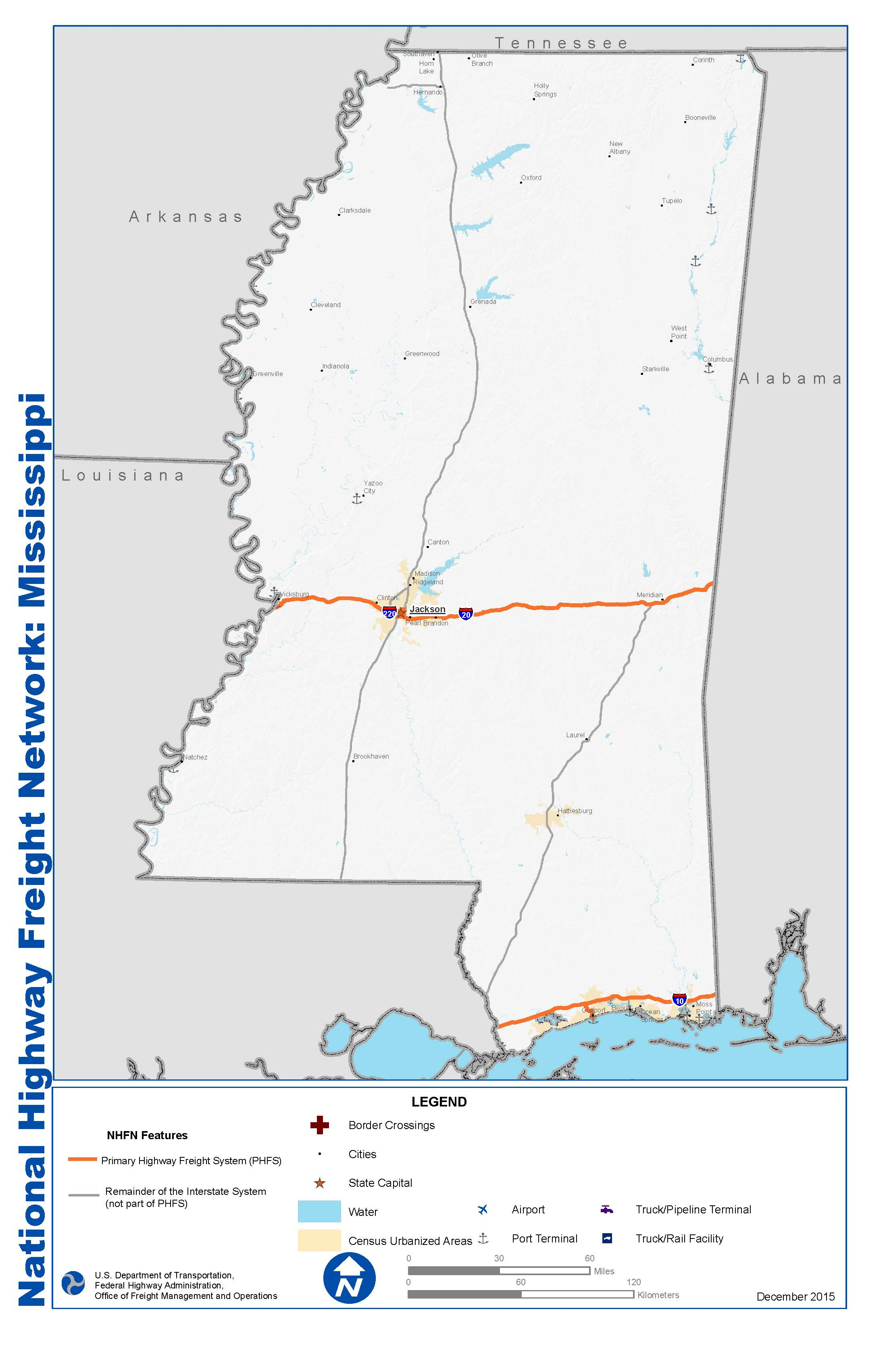 National Highway Freight Network Map And Tables For Mississippi - Hwy us 90 mississippi map