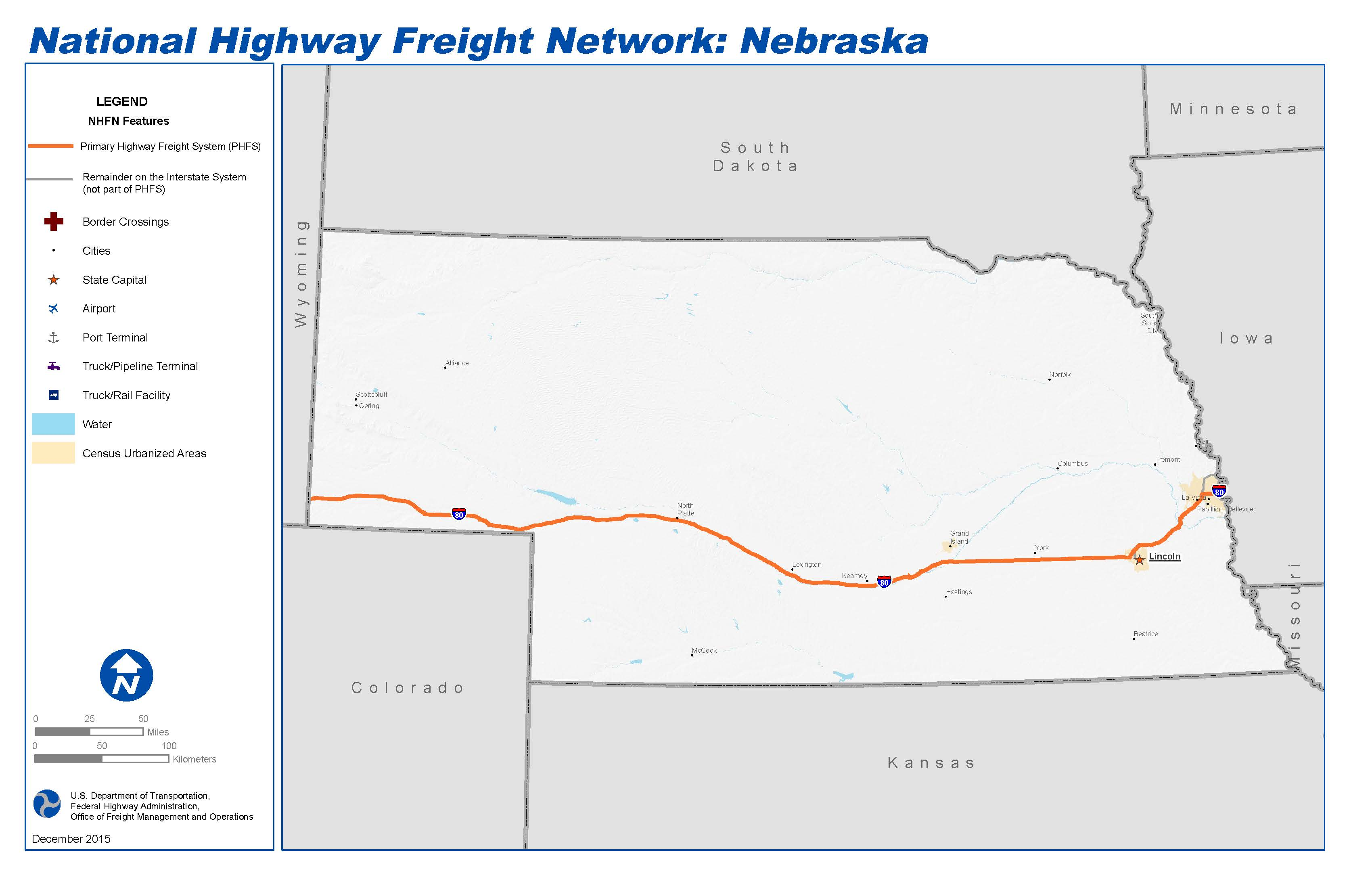 National Highway Freight Network Map And Tables For Nebraska - State map of nebraska