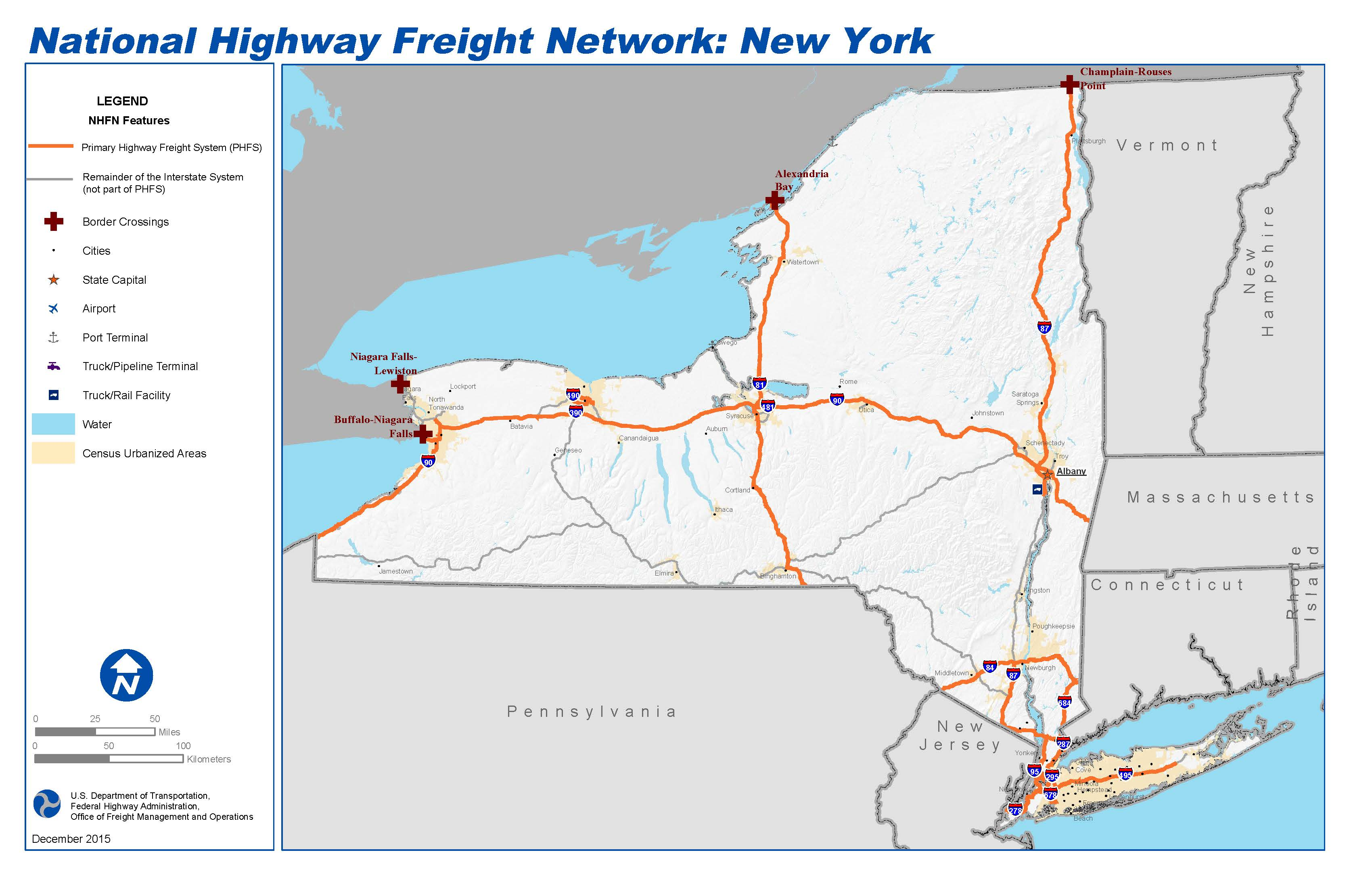Map Of New York Highways.National Highway Freight Network Map And Tables For New York