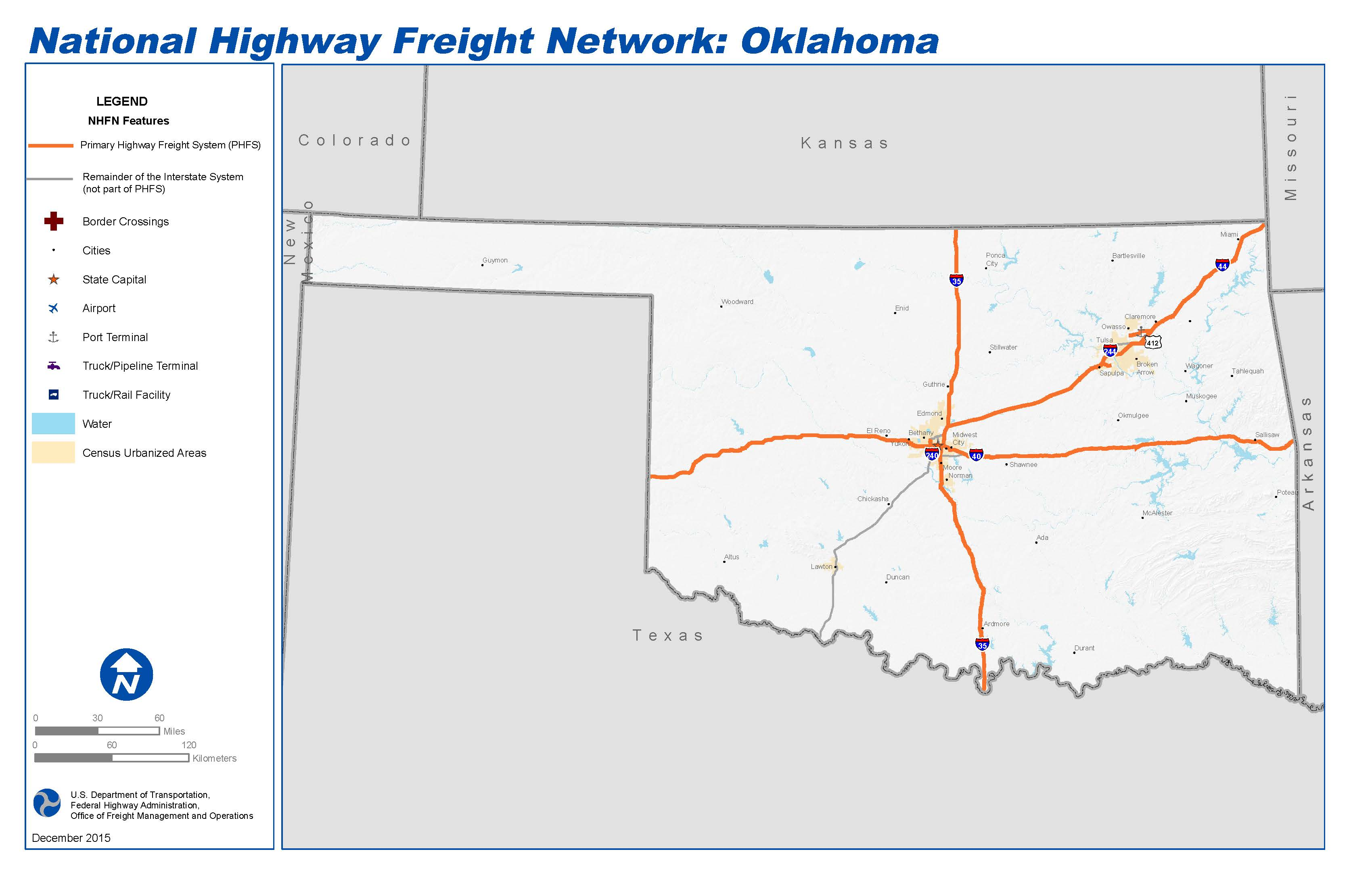 National Highway Freight Network Map And Tables For Oklahoma - Oklahoma highways map