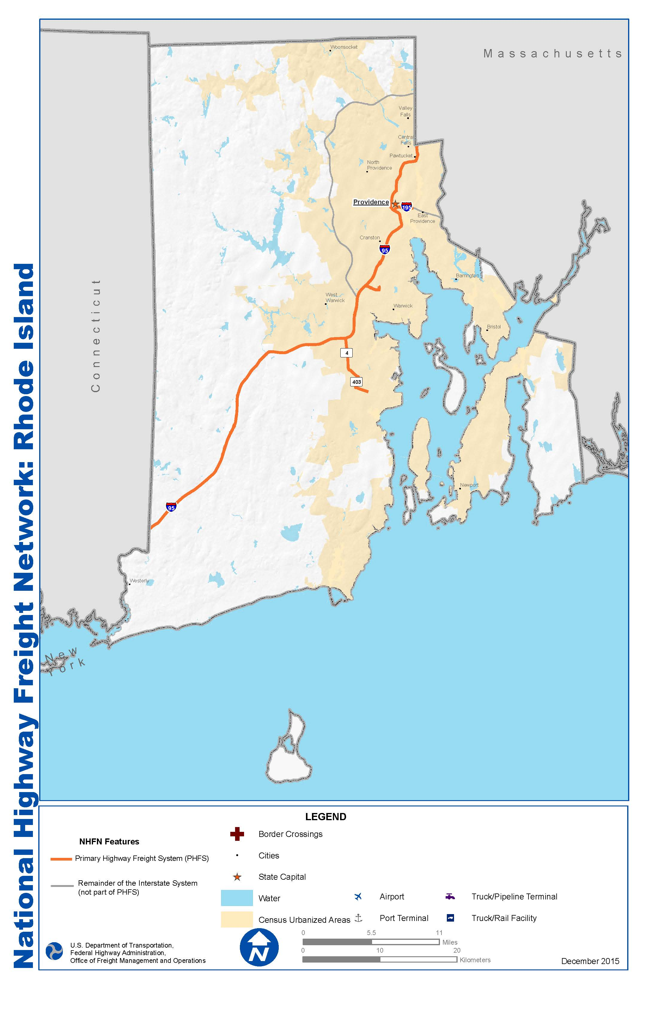 National Highway Freight Network Map And Tables For Rhode Island - Map of ri