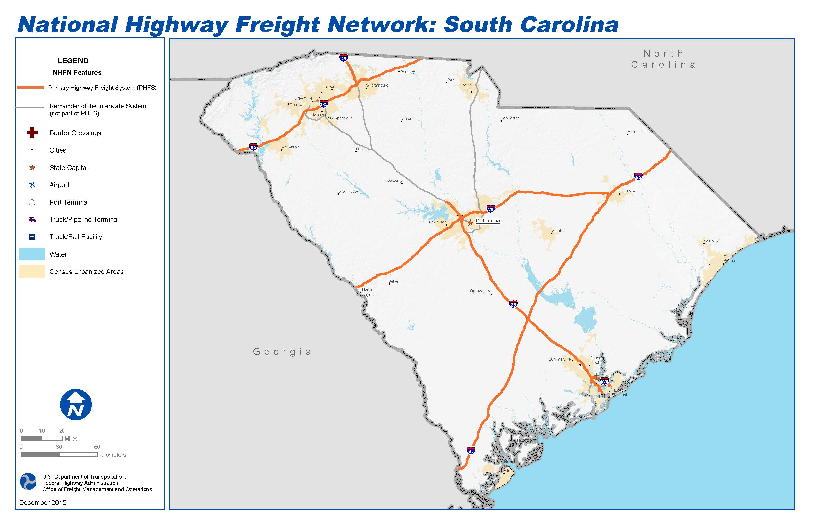 National Highway Freight Network Map And Tables For South Carolina