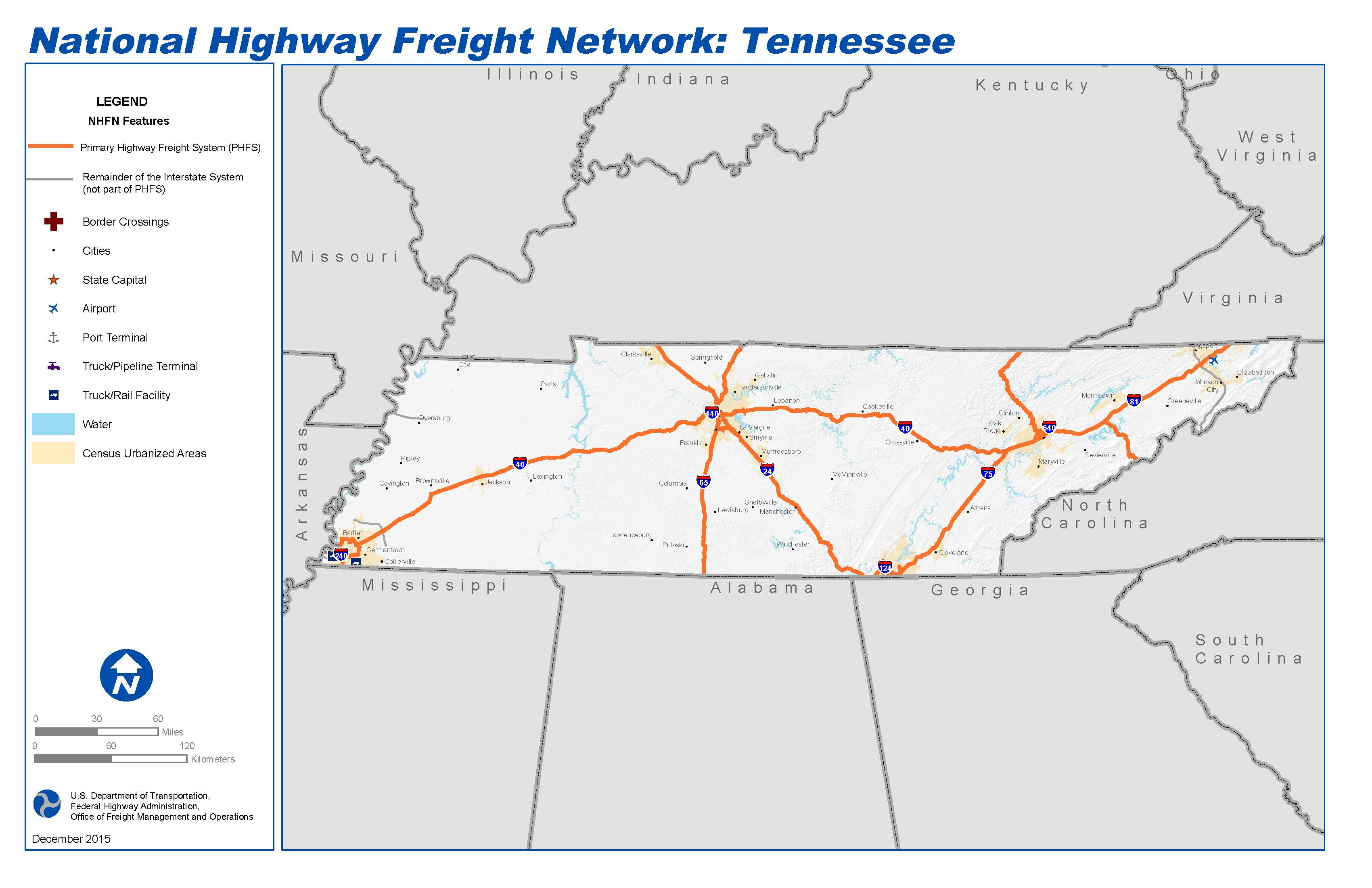 national highway freight network map and tables for tennessee