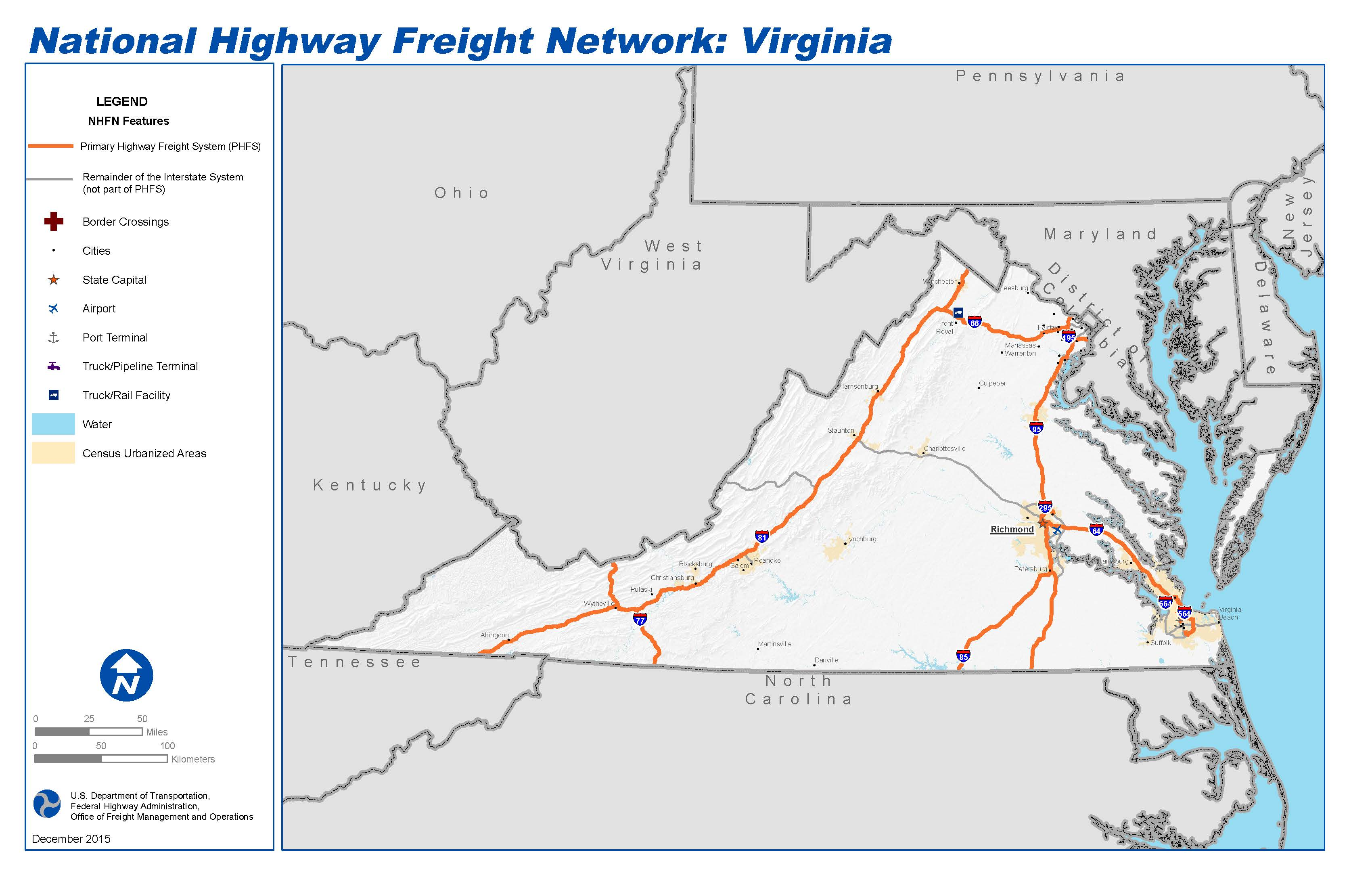 National Highway Freight Network Map and Tables for Virginia - FHWA ...