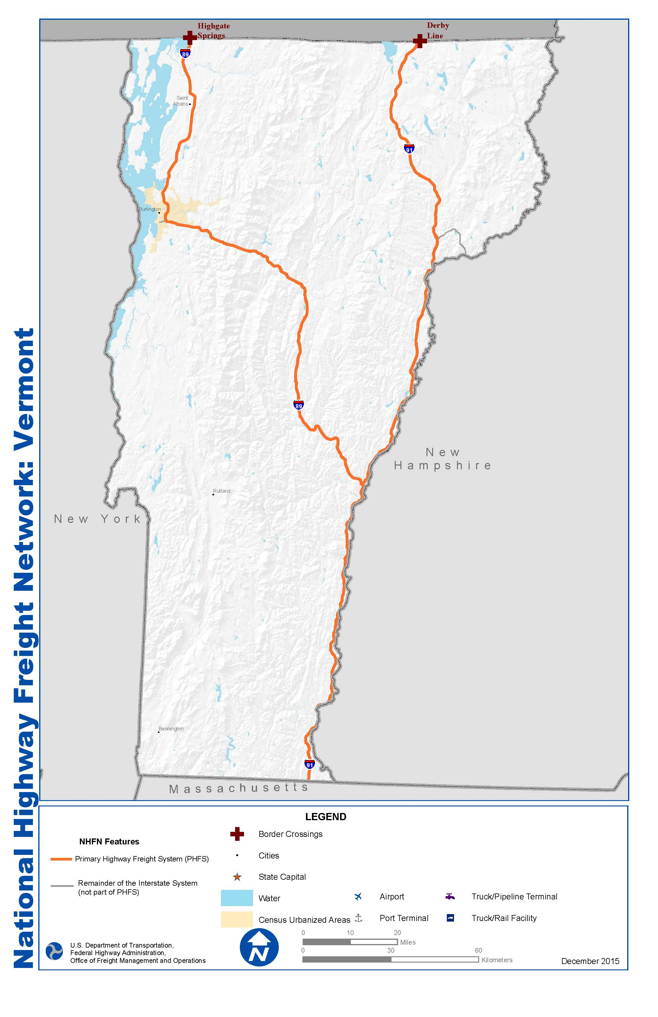 National Highway Freight Network Map And Tables For Vermont FHWA - Map of vermont with cities