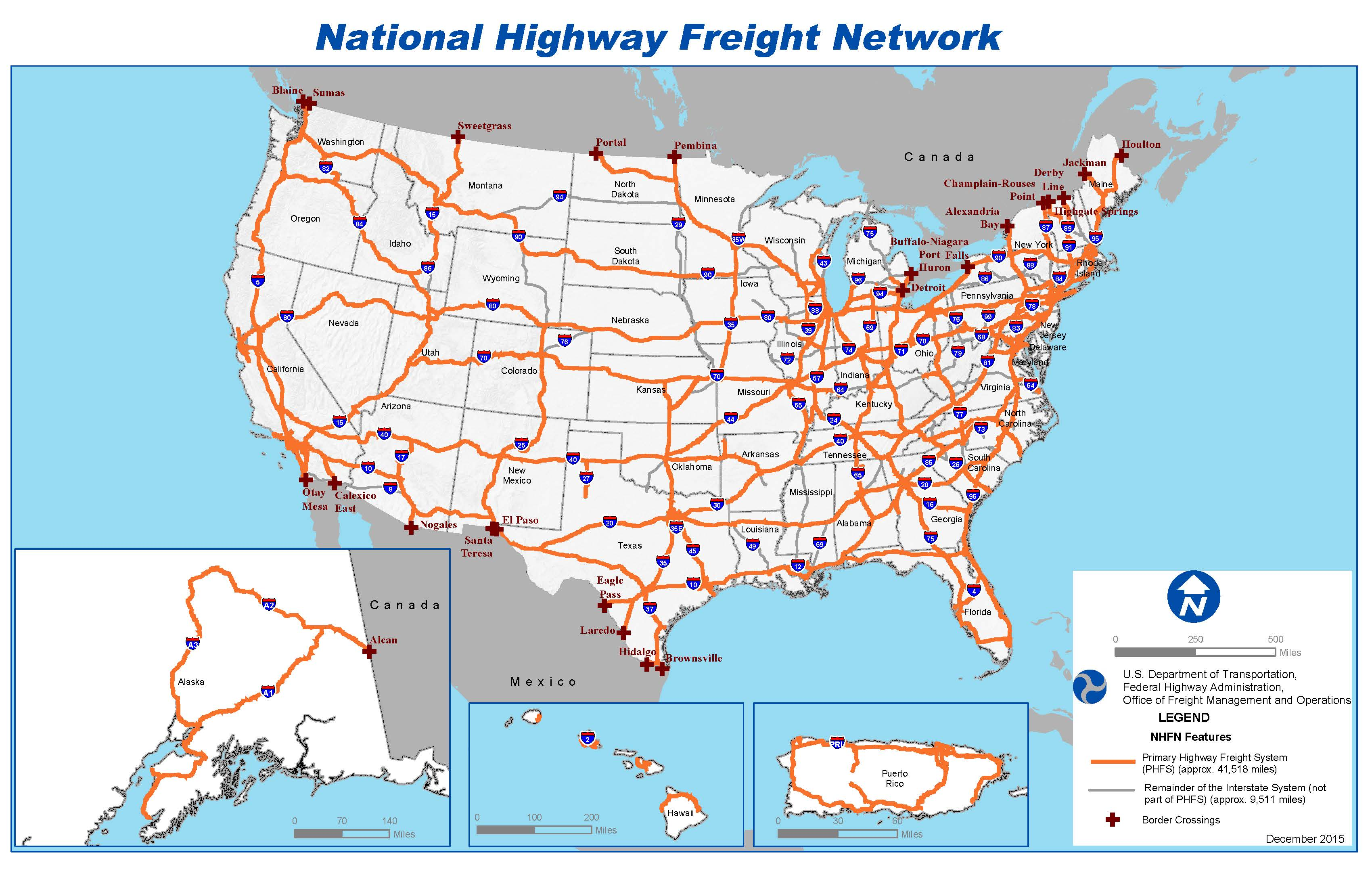 National Highway Freight Network Map