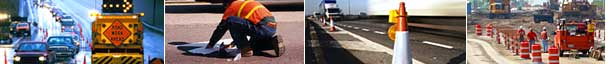 Photo collage: temporary lane closure, road marking installation, cone with mounted warning light, and drum separated work zones.