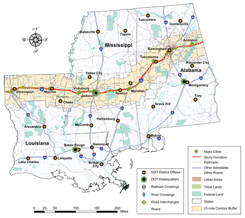 Map Of I 20 Rural Interstate Corridor Communications Study