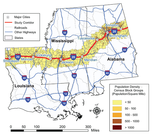 Rural Interstate Corridor Communications Study - Interstate 20 map showing route thru southern us states
