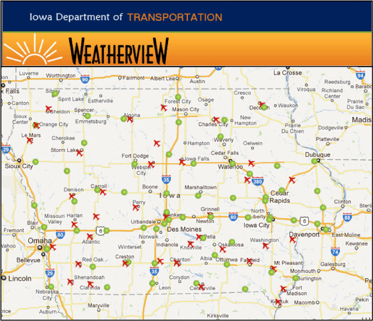 Best Practices For Road Weather Management Iowa DOT Weatherview - Road map of iowa