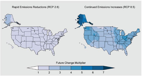 Two Heat Maps Of The United States Depicting Projected Changes In Precipitation Under A Rapid Emissions