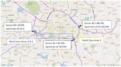 Transportation Management Plan Effectiveness Framework And Pilot - Us i 40 map