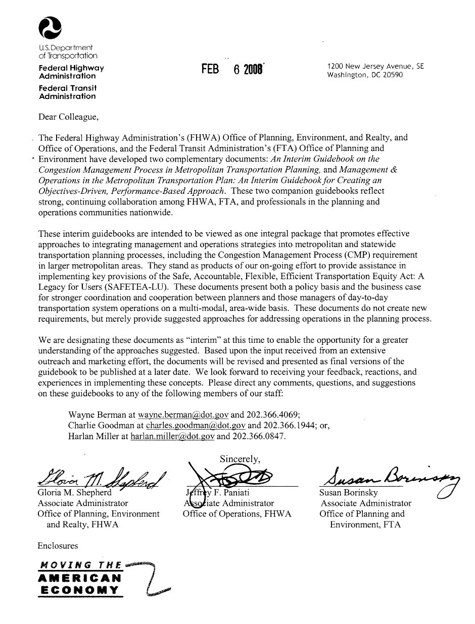 fhwa office of operations management and operations in the cover letter