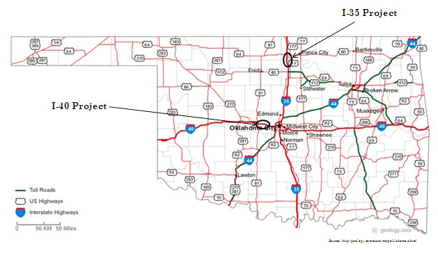 Feasibility Study On Implementation Of CAPRS In Oklahoma FHWA - Us i 40 map
