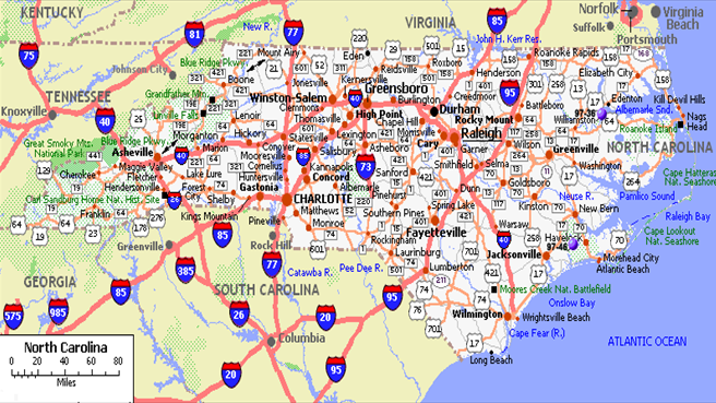 Map Of North Carolina Cities Black - Map of north carolina with cities